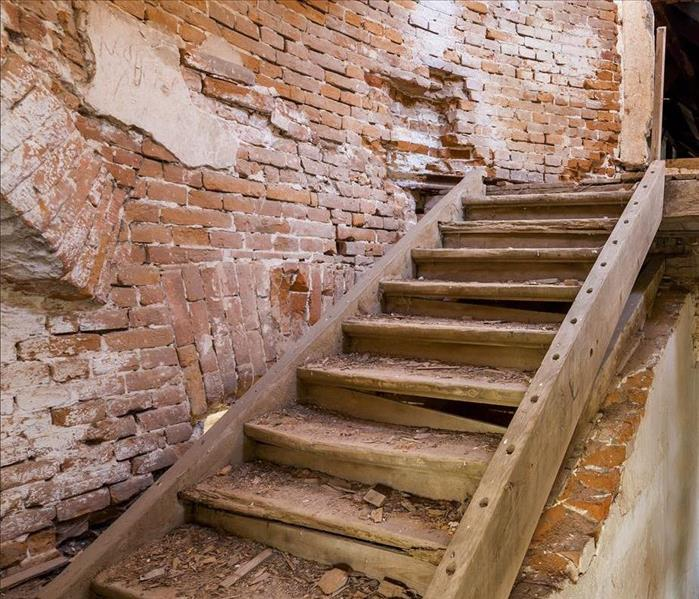 A set of stairs in a building that has long been abandoned.