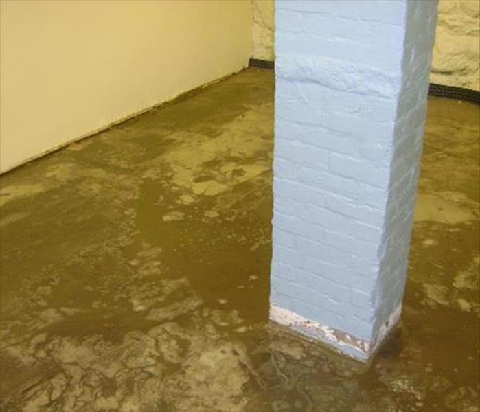 muddy deposits from flood on basement concrete pad