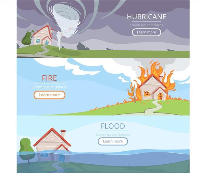 Images cartoons of hurricane, fire, storm