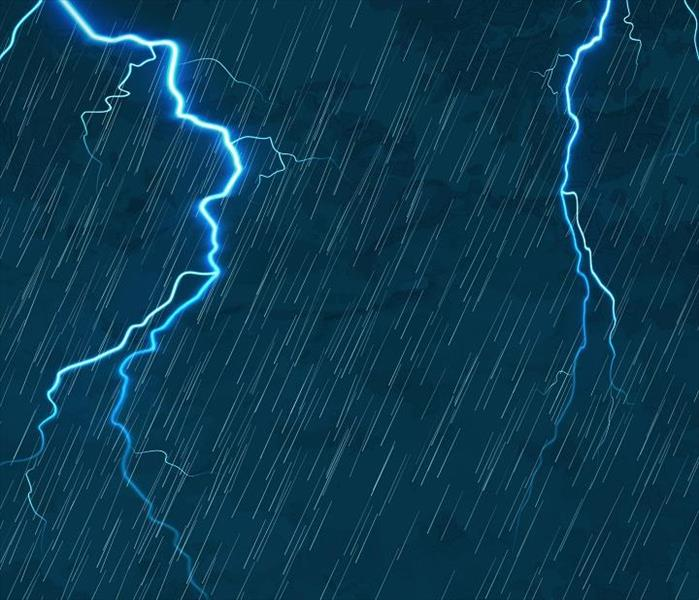 lightning and heavy rain on blue background